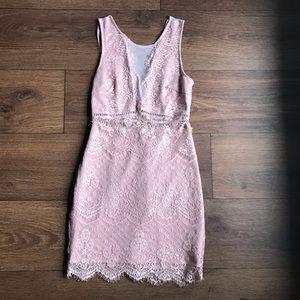 Womens Lush Pink Blush Lace Dress Small